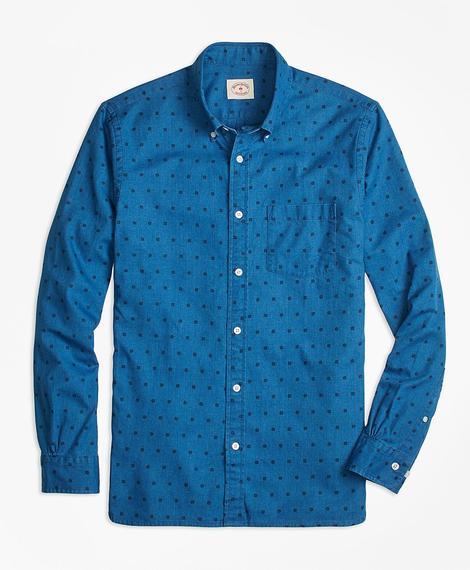 Erkek mavi düğme yakalı desenli spor gömlek