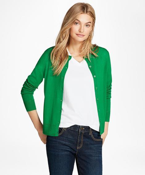 Kadın yeşil merinos hırka