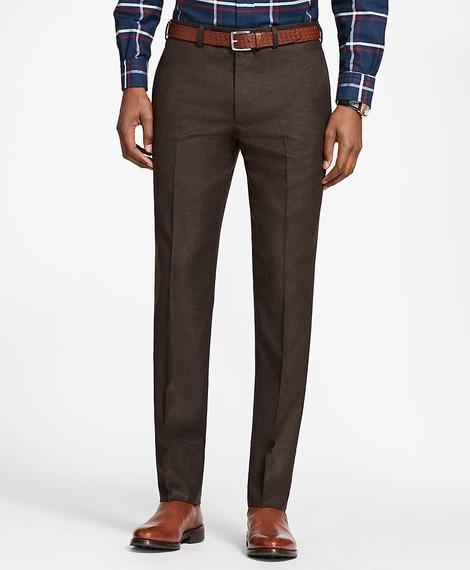 Erkek kahverengi milano kesim klasik flanel pantolon