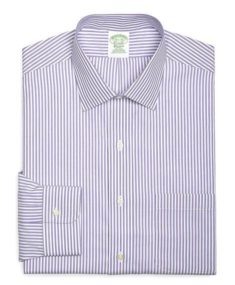Erkek mor/beyaz non-iron çizgili milano kesim klasik gömlek