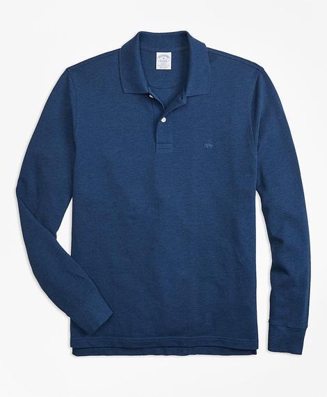 Erkek lacivert supima polo yaka sweatshirt