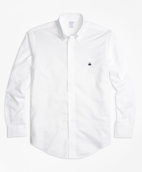 Erkek beyaz non-iron regent kesim logolu oxford spor gömlek