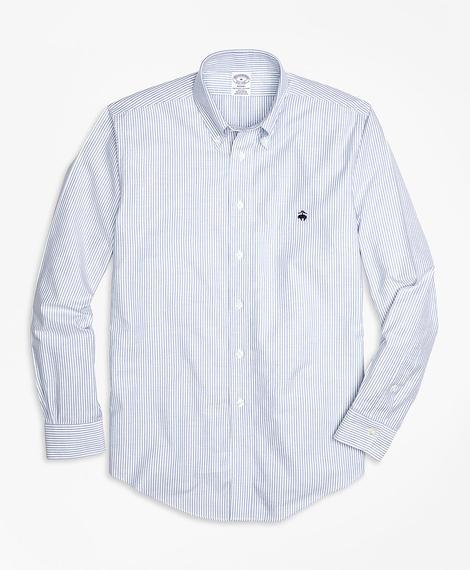 Erkek mavi çizgili non-iron regent kesim oxford spor gömlek