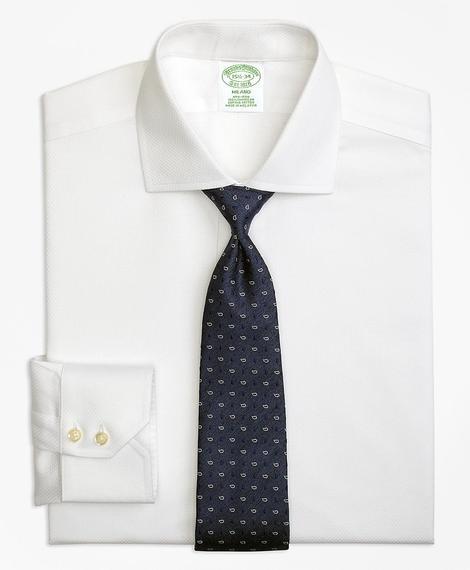 Erkek beyaz non-iron milano kesim lüks klasik gömlek