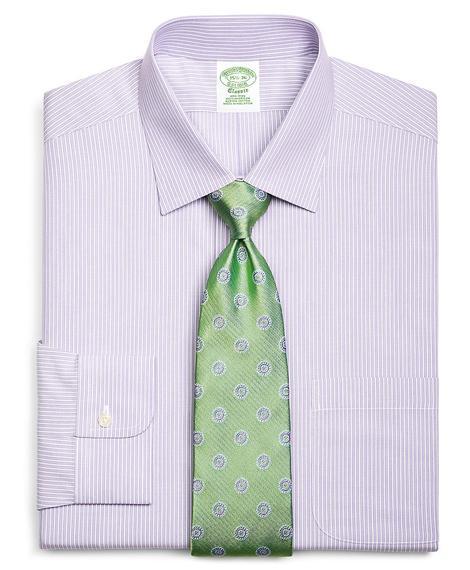 Erkek açık mor non-iron kravat yaka çizgili milano kesim klasik gömlek