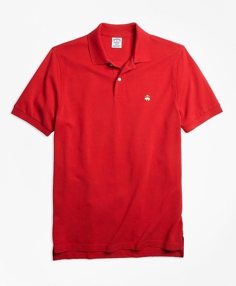 Erkek kırmızı supima polo yaka logolu t-shirt