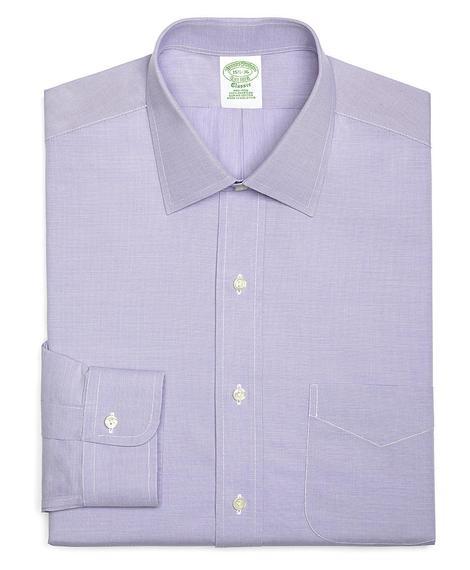 Erkek lila non-iron kravat yaka klasik gömlek