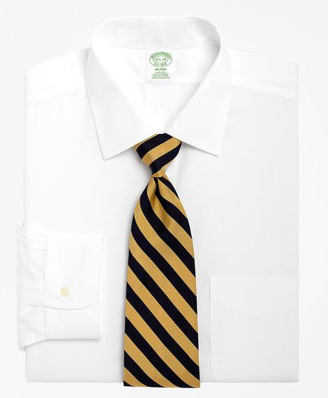 Erkek beyaz non-iron kravat yaka milano kesim klasik gömlek