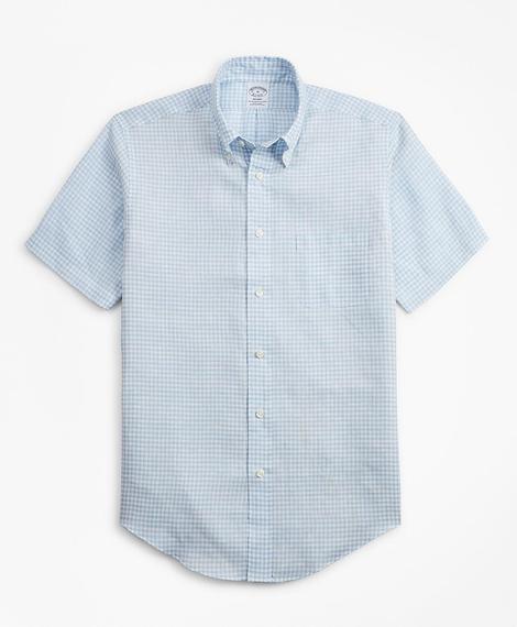 Erkek açık mavi regent kesim keten pötikareli spor gömlek