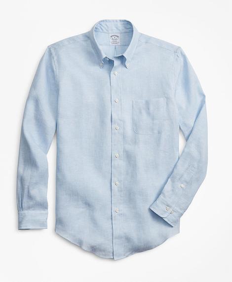 Erkek açık mavi regent kesim keten spor gömlek