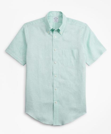 Erkek yeşil regent kesim keten spor gömlek