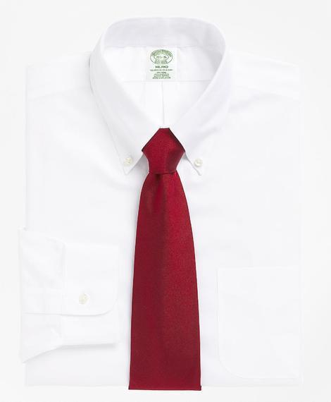 Erkek beyaz non-iron düğmeli yaka milano kesim klasik gömlek