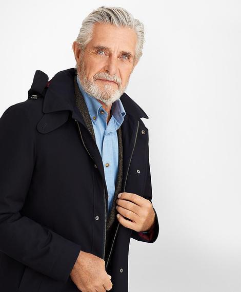 Erkek lacivert kapüşonlu palto