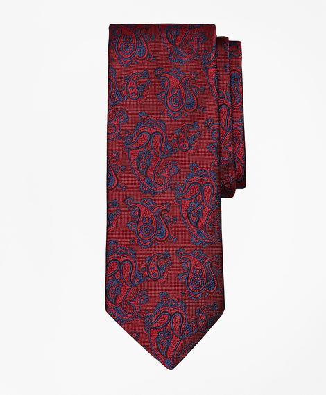 Erkek kırmızı şal desenli ipek kravat