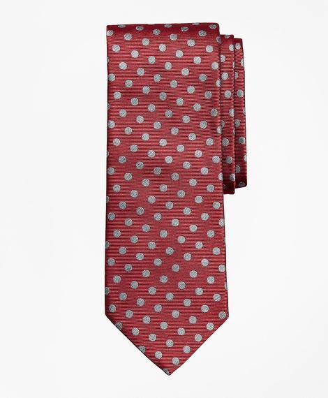 Erkek kırmızı puantiyeli ipek kravat