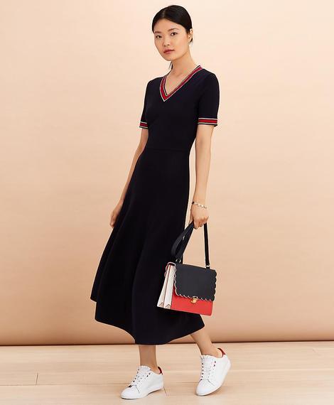 Kadın lacivert çizgili triko elbise