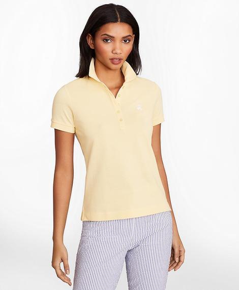 Kadın sarı supima polo yaka t-shirt