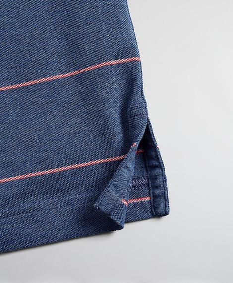 Erkek açık mavi çizgili pike polo yaka tshirt