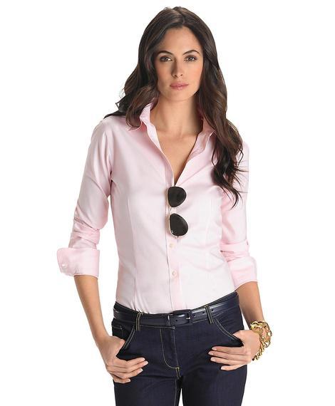 Kadın pembe non-iron klasik gömlek