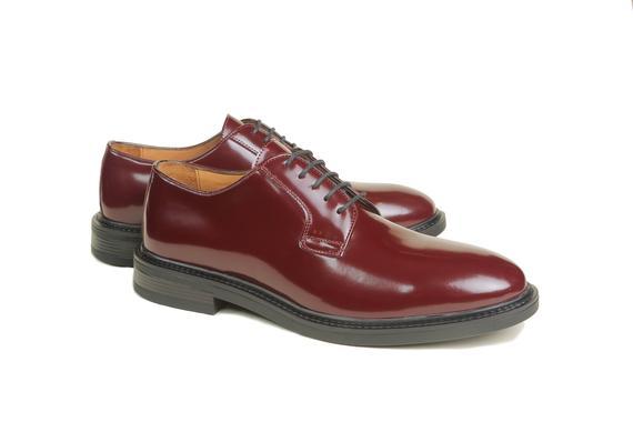 El yapımı klasik ayakkabı & bordo açma deri bağcıklı