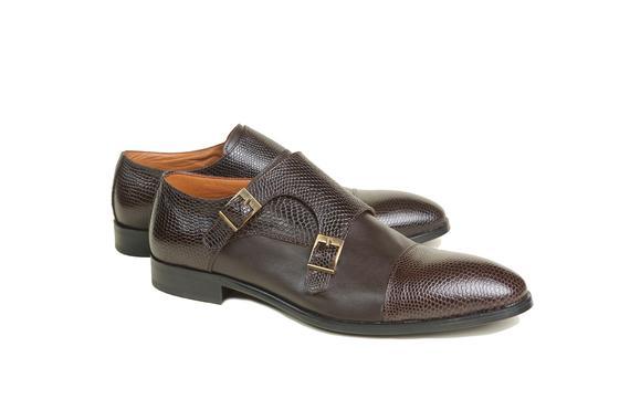 El yapımı klasik ayakkabı & kahverengi çift tokalı