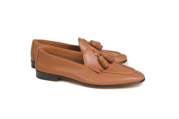 El yapımı klasik ayakkabı & taba bağcıksız