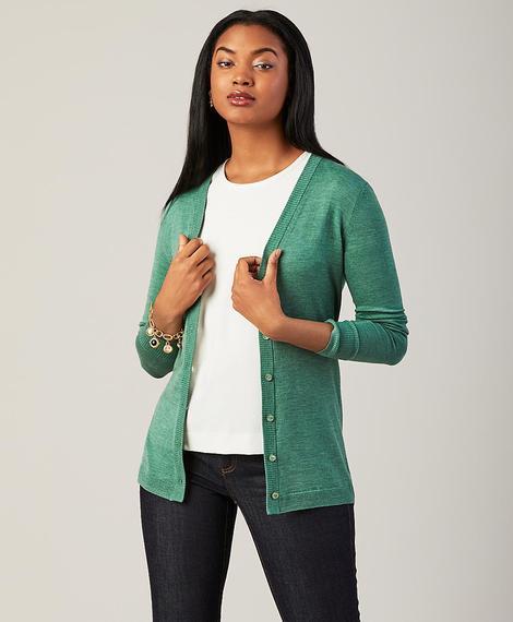 Kadın yeşil merino yünü uzun hırka