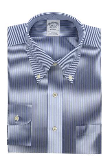 Erkek açık mavi çizgili non-iron düğmeli yaka regent kesim klasik gömlek