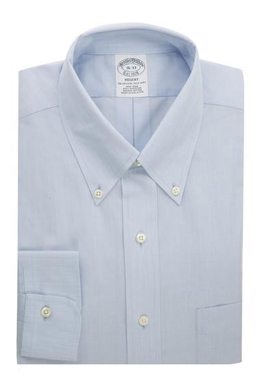 Erkek açık mavi non-iron regent kesim düğmeli yaka klasik gömlek