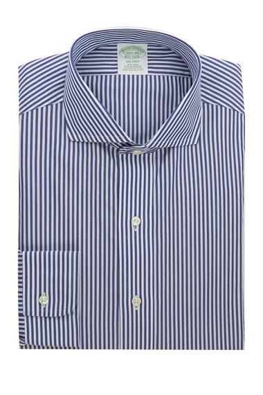 Erkek mavi çizgili italyan yaka non-iron italyan yaka cepsiz milano kesim klasik gömlek