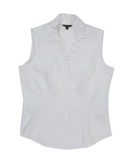 Kadın beyaz non-iron supima fırfır detaylı bluz