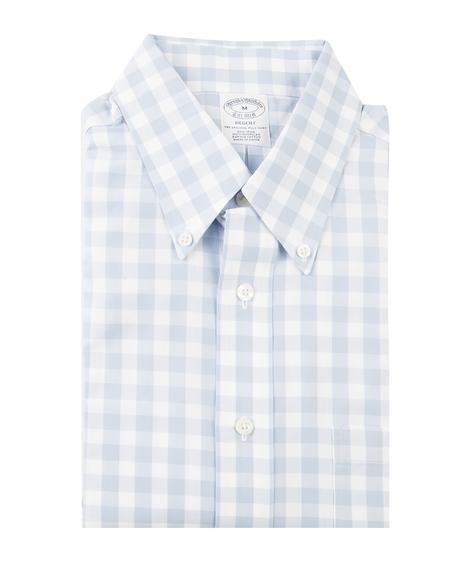 Erkek açık mavi non-iron kısa kol kareli gömlek