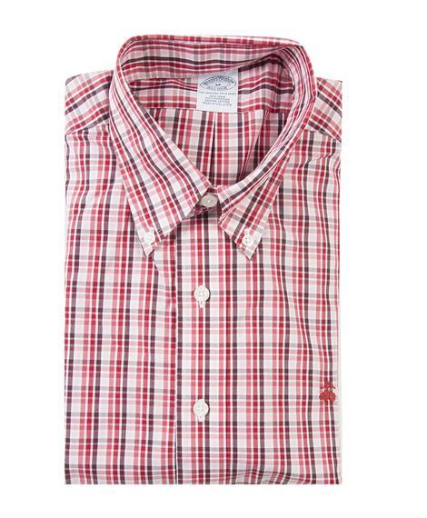 Erkek kırmızı non-iron spor gömlek